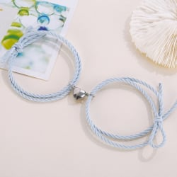 2st magnetiskt armband kärlek hjärta charm par armband för lov Blue