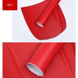 3D kolfiber vinyl bil wrap filmrulle klistermärke 12 red