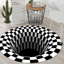 3D Vortex Illusion Rug Swirl Print Optical Illusion Areas Rug C diameter of 100