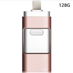 3in1 USB3.0 Usb Flash Drive IPhone / iPad / Android / PC I-Flashdrive Rose red 128G