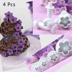 4st Plommon Blomma Fondant Cake Cutter Kolv Cookie Mögel Decora