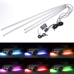 4st RGB LED Under Car Tube Strip Underbody Glow Neon Light Kit Multicolor One Size