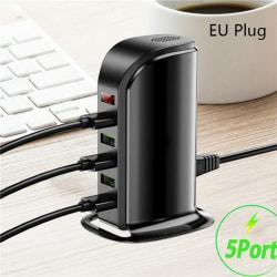 5-port Multi-USB laddstation Hub Base Smart Digital Displa Black EU Plug