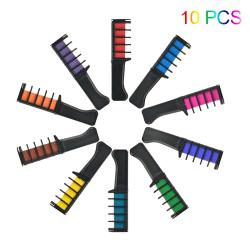 6 / 10PCS Set Tillfälligt Hårkrita Färg Kam Färg Cosplay Washabl 10 PCS