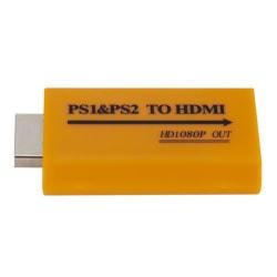 1080p HD PS1 / PS2 till HDMI Audio Video Converter Adapter för HDTV Yellow