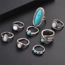 8PCS / Set Bohemian Women Silver Turkos Fingerringar Opal Rin Silver