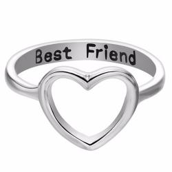 Best Friends Heart Finger Ring Knuckle Ring Friend Love Smycken Silver No.8