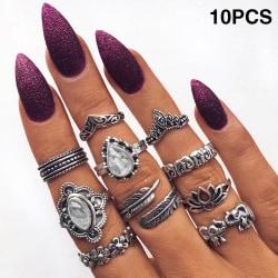 Bohemian Vintage Midi Finger Knuckle Rings Set Silver Finger Ri A:10PCS