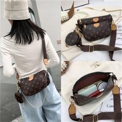 Cossbofy Bag 3-i-1 Retro Handväska PU Läder Tygväskor Mode L coffee