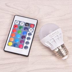 E27 3W dimbar RGB LED-lampa Färgbyte IR-fjärrkontroll