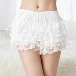 lady girl frilly spets ruffle shorts knicker trosor underkläder White