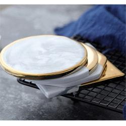 Europeisk stil marmor korn guldplätering keramiska underlägg Cup Mats