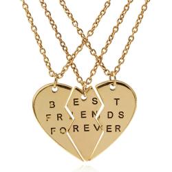 Mode 3Pieces Broken Heart Pendant Necklace Chic Bästa vänner Gold