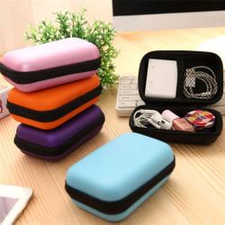 Fashion Headset Protect Carry Hard Case Bag Storage Box Headpho Purple 12*8*4cm
