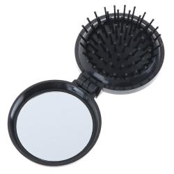 Fällbar massagekamhårborste med kompakt resepock för spegel Black