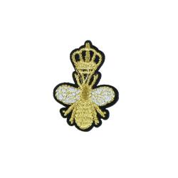 guld krona bi lappar broderi applikation kläder hantverk sy på