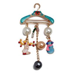 jul pärla brosch rådjur snögubbe hänge smycken rhinestone b Multicolor