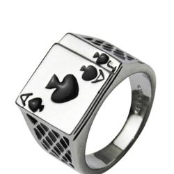 Herrsmycken Cool Black Enamel Spades Poker Ring Gentleman Silver 19MM