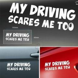 Min körning skrämmer mig för roligt Auto-bagageutrymme Thriller Rear Win White 20*6cm