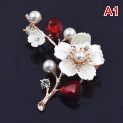 pärlblomma broscher för kvinnor elegant mode pin röd kristall Red