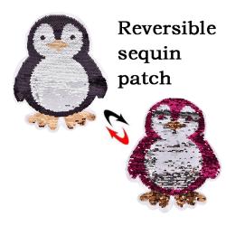 penguin Reversible Sequins Sew On Patches kläder DIY-applikation