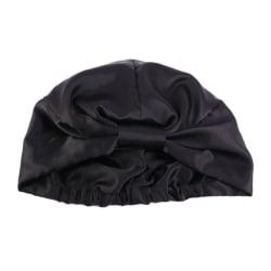 Silk Salon Bonnet Women Sleep Shower Cap Hat Badhandduk Hår Ca Black