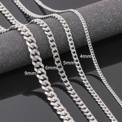 Storlek 4-6mm Herr halsband rostfritt stål kubansk länk kedja höft I:6mmx18in