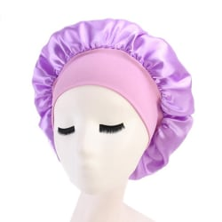 Massiv satinhuvhårstyling Sömnhatt Wrap Shower Cap Hair Purple