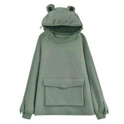 Långärmad, lös tröja med grov huva för kvinnor dark green S