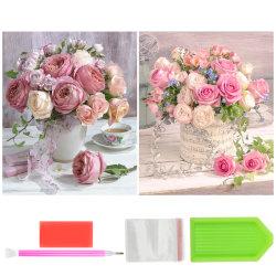 2st, Blommor Diamantmålningssatser, Hemväggsdekor, 30x40 cm flerfärgad