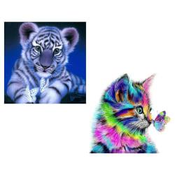 2st, Tiger + Cat Diamond målningssatser, hemväggsdekor, 30x30 cm flerfärgad