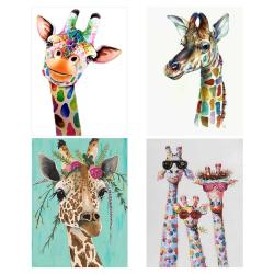 4st, giraff diamantmålningssatser, hemväggsdekor, 30x40 cm flerfärgad