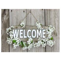 Välkommen, diamantmålningssatser, hemväggsdekor, 40x30 cm grå