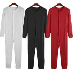 Män Långärmad One Piece Pyjamas Jumpsuit Homewear Button Svart XL