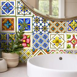 20st blommor mosaik kakel klistermärken självhäftande vattentät H 20x20cm
