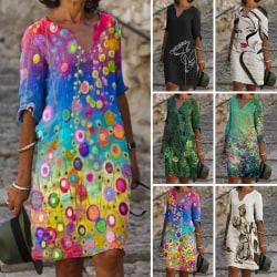 Kvinnors V -Ringad Blommig Knäklänning Casual Lös Sommarstrand Mörkgrön L
