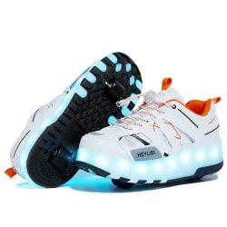 Barn rullskridskor sneakers LED-ljus födelsedagspresent B201 Vit Orange 30