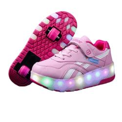 Barn unisex rullskridskor tvåhjuliga casual skor mode B78 Rosa 37