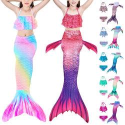 Barnflickor 3St Mermaid Tail Swimming Bikini Set Swimmable Kit Ljusrosa 140