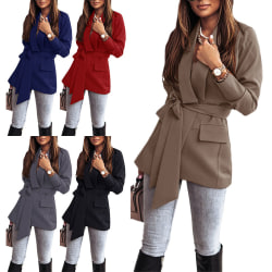 Damjacka Coat Office Ol Lace Up Outwear Cardigan Mörkgrå XL