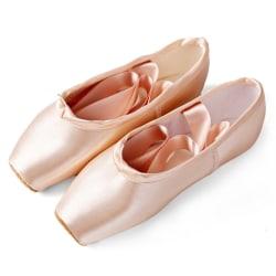 Klassiska balettskor för tjejer och vuxna med fyrkantiga tåband Satinrosa 36