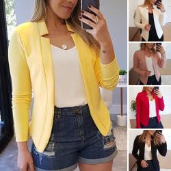Kvinnor Ol Långärmad Blazer Suit Jacket Cardigan Coat Outwear Gul 5XL