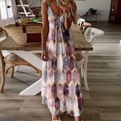 Kvinnors Geometriska Tryckta Ärmlösa Bröllopsklänning Violett M