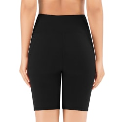 Kvinnors Hög Midja Yoga Shorts Sportbyxor Leggings Fickor Svart M