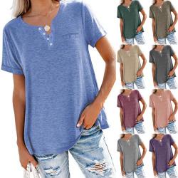 Kvinnors Lösa Fast Färg T-Shirt V-Ringad Blus Kort Ärm Blå S