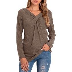 Kvinnors Lösa Långärmade V-Ringade Toppar T-Shirt Pullover Basic Kaki XL