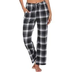 Kvinnors Rutiga Rutiga Tryckta Pyjamasbyxor Homewear-Byxor Svart S