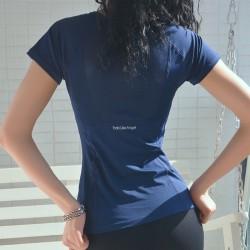 Kvinnors Yogatoppar Kortärmade Crew Neck-Skjortor Fitness Marinblå L