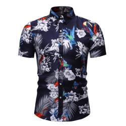 Män Kortärmad Hawaiianskt Tryckt Casual Lösa Skjortor Mörkblå XL