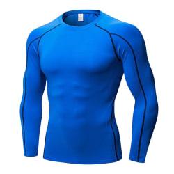 Män Mjuka Sportkläder Stretch Snabbtorkande Långa Ärmar T-Shirt Blå M